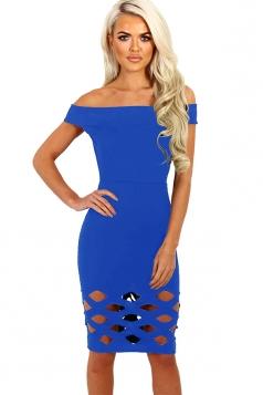 Womens Off Shoulder Cut Out Plain Bandage Midi Dress Blue