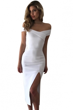 Womens Off Shoulder Side Slit Plain Midi Clubwear Dress White