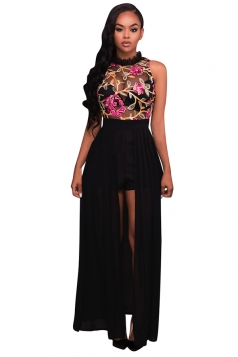 Womens Floral Printed Sheer Sleeveless Romper with Maxi Dress Black