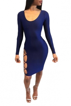Womens Long Sleeve Cross Lace-up Backless Plain Clubwear Dress Blue
