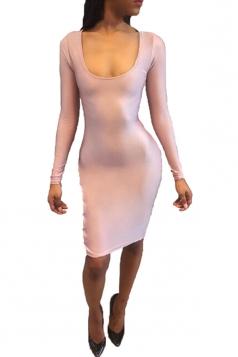 Womens Long Sleeve Cross Lace-up Backless Plain Clubwear Dress Pink