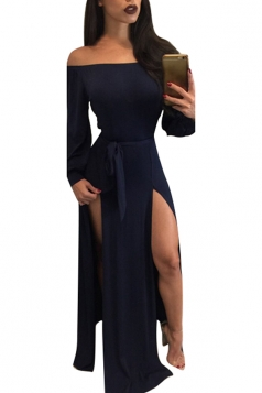 Womens Off Shoulder Long Sleeve Front Slit Clubwear Dress Navy Blue