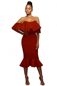Womens Ruffled Off Shoulder Plain Midi Clubwear Dress Ruby