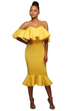 Womens Ruffled Off Shoulder Plain Midi Clubwear Dress Yellow