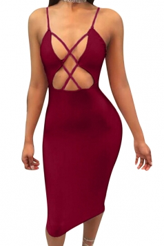 Womens Cross Cut Out Spaghetti Straps Midi Clubwear Dress Ruby