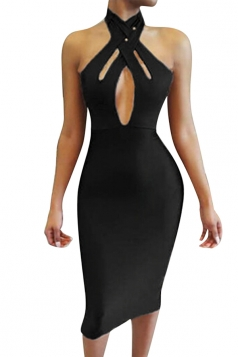 Womens Cutout Bandage Halter Plain Midi Clubwear Dress Black