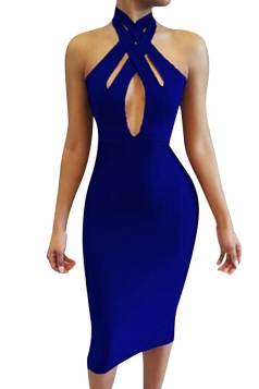 Womens Cutout Bandage Halter Plain Midi Clubwear Dress Sapphire Blue