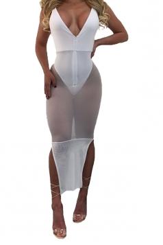Womens Sheer Deep V Neck Spaghetti Straps Clubwear Dress White