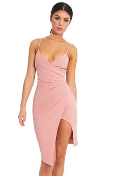 Womens Spaghetti Straps Ruched Asymmetric Slit Clubwear Dress Pink