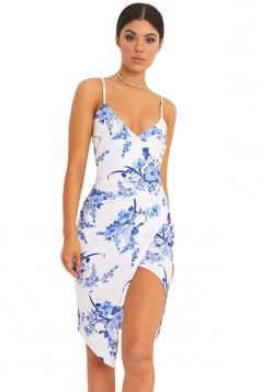 Womens Spaghetti Straps Ruched Asymmetric Slit Clubwear Dress White