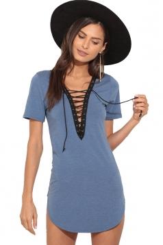 Womens Lace-up V Neck Short Sleeve Asymmetric Mini Shirt Dress Blue