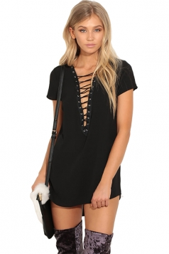 Womens Lace-up V Neck Short Sleeve Asymmetric Mini Shirt Dress Black