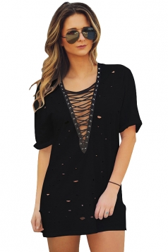 Womens Lace-up V Neck Hollow Out Short Sleeve Mini Shirt Dress Black