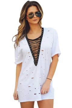 Womens Lace-up V Neck Hollow Out Short Sleeve Mini Shirt Dress White
