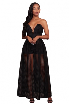 Womens Plunging Neck Strapless Plain Fishnet Maxi Romper Dress Black