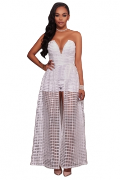 Womens Plunging Neck Strapless Plain Fishnet Maxi Romper Dress White