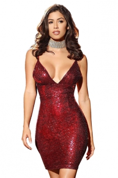 Womens V Neck Sequined Spaghetti Straps Clubwear Dress Ruby