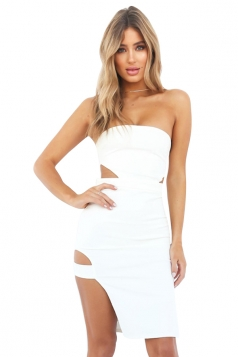 Womens Cut Out Waist Side Slit Plain Tube Dress White