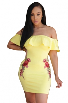 Womens Ruffled Off Shoulder Flower Printed Clubwear Dress Yellow