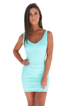 Womens Sexy Backless Deep V-neck Sleeveless Clubwear Dress Light Blue