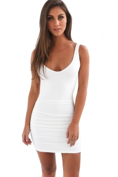 Womens Sexy Backless Deep V-neck Sleeveless Clubwear Dress White
