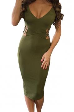 Womens Crisscross Cutout Detail Back Slit Midi Dress Green