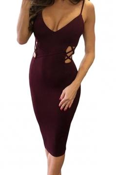 Womens Crisscross Cutout Detail Back Slit Midi Dress Ruby