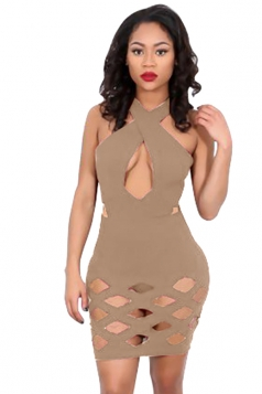 Womens Sexy Cross Collar Cut Out Clubwear Dress Apricot