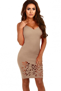 Womens Sexy V-neck Straps Cut Out Clubwear Dress Apricot