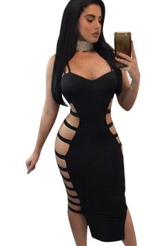 Womens Sexy Straps Cut Out Bandage Clubwear Dress Black