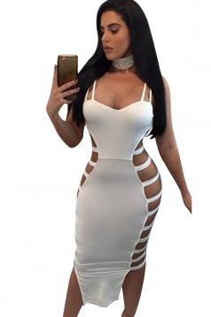 Womens Sexy Straps Cut Out Bandage Clubwear Dress White