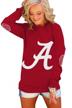 Womens Crewneck Letter Printed Long Sleeve Pullover Sweatshirt Red