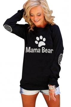 Womens Crewneck Bear Paw Printed Long Sleeve Pullover Sweatshirt Black