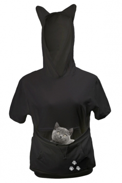 Womens Large Pocket Cat Printed Short Sleeve Hoodie Black