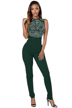 Womens Rhinestone High Waist Sleeveless Jumpsuit Green