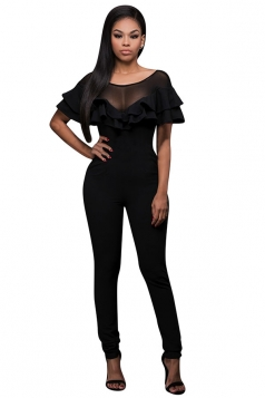 Womens Sexy Double Layer Ruffle Fitting High Waist Jumpsuit Black