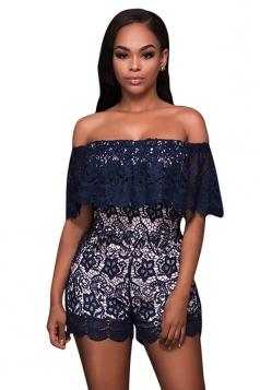 Womens Off Shoulder Ruffled Lace High Waist Romper Navy Blue