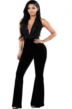 Womens Halter V Neck Backless Plain Bell Bottom Jumpsuit Black