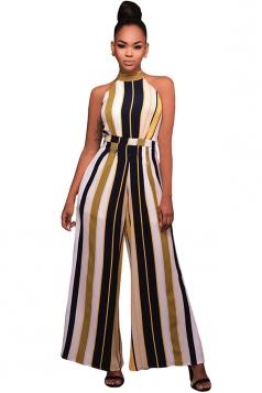 Womens Sleeveless High Waist Striped Palazzo Jumpsuit Yellow