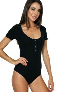 Womens Round Neck Single-breasted Decor Short Sleeve Bodysuit Black