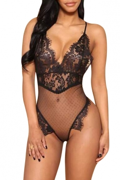 Womens Plunging Neck Sheer Lace Backless Bodysuit Black