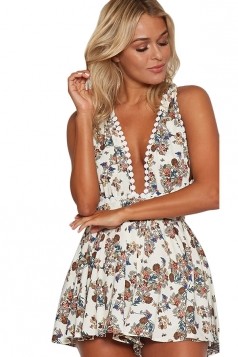 Womens Floral Printed Bandage Lace-up Backless Romper White
