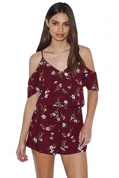 Womens V-neck Cold Shoulder Floral Printed Romper Ruby
