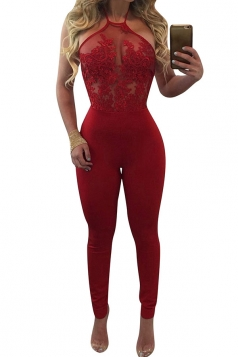 Womens Sexy Lace Patchwork Halter Backless High Waist Jumpsuit Ruby