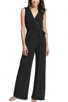 Womens V Neck Lace-up Sleeveless Palazzo Jumpsuit Black
