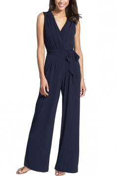 Womens V Neck Lace-up Sleeveless Palazzo Jumpsuit Navy Blue