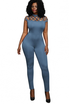 Womens Mock Neck Cut Out Short Sleeve High Waist Jumpsuit Blue