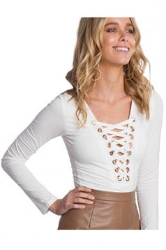 Womens Cross Lace-up Deep V Neck Long Sleeve Plain Bodysuit White