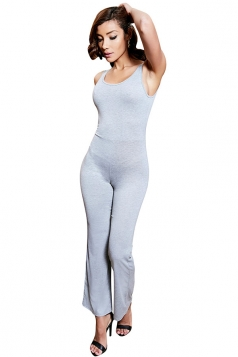 Womens Backless Bell Bottom Sleeveless Plain Jumpsuit Light Gray