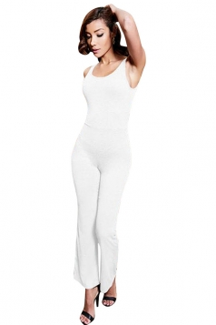 Womens Backless Bell Bottom Sleeveless Plain Jumpsuit White